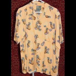 ISLAND HEAVEN peach Hawaiian silk shirt M